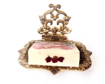 Cast Iron Business Card Holder - Gold/ Red - Ornate Soap Dish - Home Office Desk Decor - Bathroom Sink - Desk Accessories - Catch All Dish