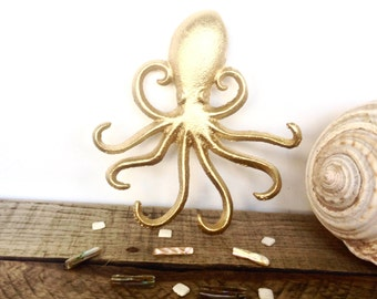 Gold Octopus Hook - Jewelry Hanger - Gold Wall Decor - Necklace Holder - Bathroom Wall Art - Gold Decor - Octopus Wall Art - Key Holder Wall