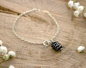Silver Pine Cone Bracelet: Nature Bracelet, Woodland Jewellery, Silver Pine Cone Charm Bracelet, Pinecone Charm, Silver Charm Bracelet