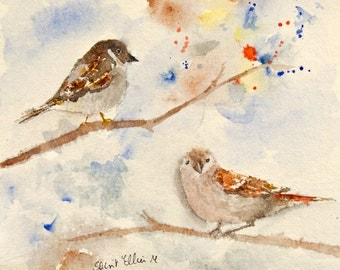 Original  watercolor of 2 sparrows on a tree branch - original painting of sparrows in a tree