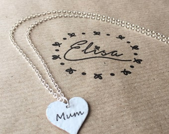 White 'Mum' Enamel Heart Necklace