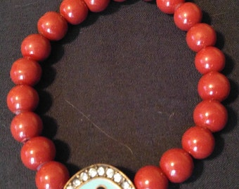 Maroon Beaded Bracelet with Evil Eye Charm