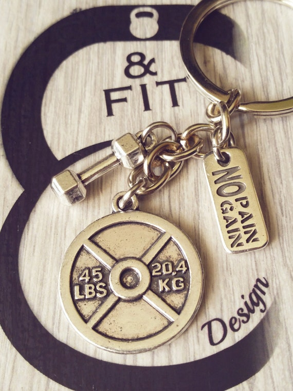 Dumbbell Keychain BodyPower Workout  Bodybuilding,Gym,Fitness,CrossFit,Kettlebell,Gym jewelry,weightlifting,No pain no gain,Coach gift,Wod