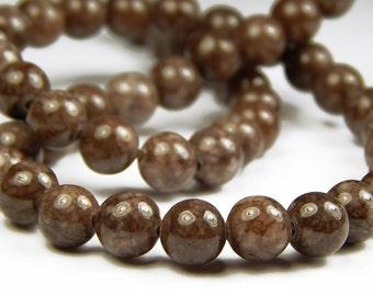 15 Inch Strand - 8mm Round Brown Snowflake Jasper Beads - Gemstone Beads - Jewelry Supplies
