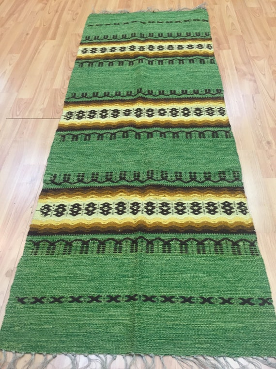 "1'10"" x 4'10"" Mexican Flat Weave Kilim Rug - Hand Made - 100% Wool"