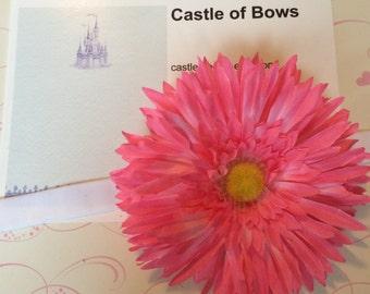 "Pink Gerber Daisy Large 5"" Flower Baby Headband - Headband or Hair Clip - You Pick Headband Color"