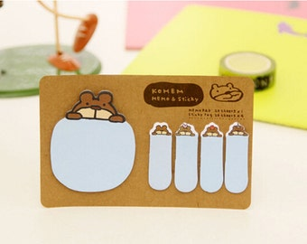 Kohem: Memo & Sticky / Kawaii Blue Bear / Cute Kawaii Memo Pad and Sticky Notes / Stationery / Stationary / School Supplies / Bookmark Tabs
