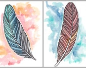 Original Feather Art  - Red and Blue Patterned Feathers - Watercolor and Pen Illustration - 5x7