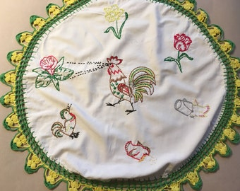 Vintage Hand Embroidered Rooster Runner/Doily