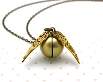 Harry Potter, Golden Snitch Locket Necklace, Gold Wing Snitch