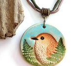 Bird Pendant, Bird Necklace, Long Necklace, Handcrafted Necklace, For Bird Watchers, Colorful Necklace, Antique Brass, Gift for Her