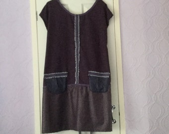 A Nice Purple  Dress With a Tie Belt and Two Front Pockets