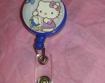 Blue Hello Kitty badge reel, adorable, med tech, doctor.