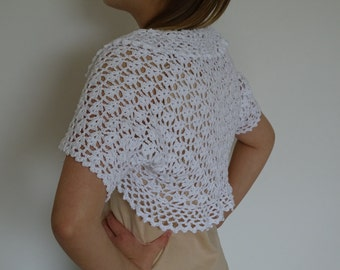 Crochet Bolero White Handmade Ladies Cotton