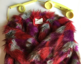 Faux fur hot pink bolero jacket