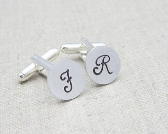 Personalized cuff links, monogram cufflinks, initial cufflinks, gift for him, hand stamped, gift for dad, groomsman gift, wedding cuff links