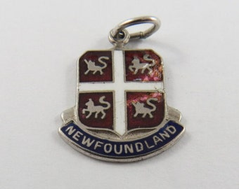 Enameled Coat of Arms for Newfoundland Silver Charm of Pendant.