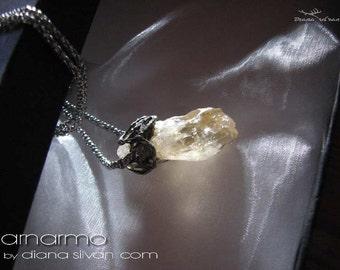 Arnarmo - raw citrine pendant raw citrin crystal pendant