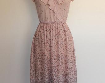 Vintage 1970s Faux Wrap Dress