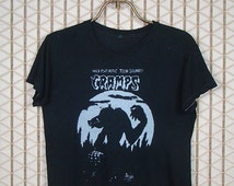 The Cramps vintage & rare T-shirt, black tee shirt, Wild Psychotic Teen Sounds, soft and thin, Lux Interior, Poison Ivy Rorschach