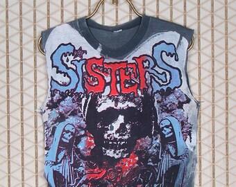 Sisters of Mercy, 1980s vintage & rare T-shirt, big all over print, Mosquitohead, acid wash bleach, sleeveless black tee shirt