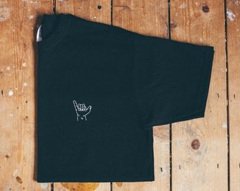 Shaka/surfer Hand Embroidered T-shirt