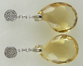 Citrine 23.70ct Earring with Diamonds 0.04ct 18k White Gold