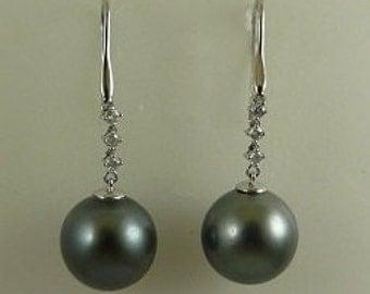 Tahitian Black 13.7mm & 13.5 mm Pearl Earrings,18k White Gold  Diamonds 0.18ct