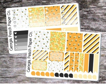 Bumble Bee/Honey Bee Themed Planner Stickers - Made to fit Vertical Layout