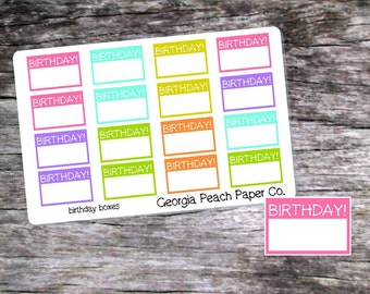 Birthday Boxes Planner Stickers Pastel Colors-Birthday Planner Stickers- Made to fit Vertical Layout