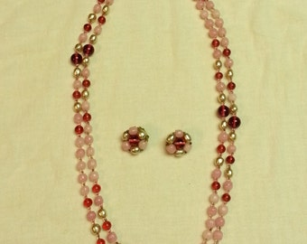Vintage, Miriam Haskell, pink glass beads and blister pearls, rope necklace and earring set, 1950