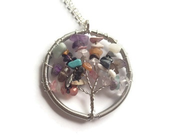Tree of Life Pendant, Wire Tree Necklace,  Mixed Semi-Precious Tree Pendant, Wire Wrapped Tree, Tree of Life Necklace, Tree Jewellery