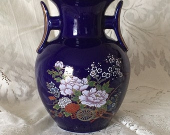 Dark / Navy Blue Asian Vase with Gold Detail and Floral Design