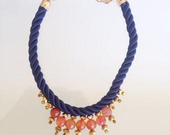 Handmade Embellished Silk Necklace