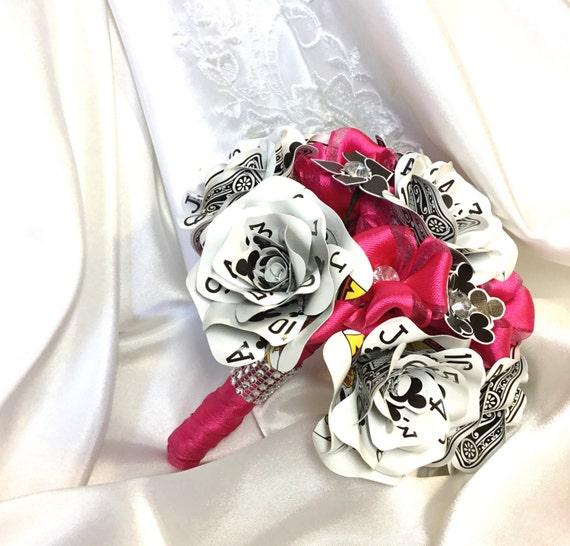 Ribbon and Playing Card Flower Bouquet, Fun Bridal Flowers, Vegas Wedding, Poker Card Flowers, Crystal Bling, Customizable Wedding Decor