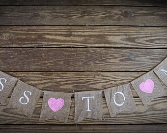 MISS to MRS ~ Engagement Wedding Banner ~ Burlap Shower Decoration Photo Prop BUNTING Hearts