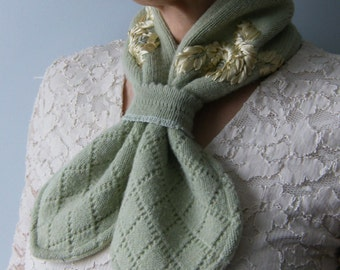 Women's Green Scarf, Neckwarmer, Winter Scarf, Womens Scarves, Upcycled Scarf, Repurposed Sweater Scarf, Ladies Scarf