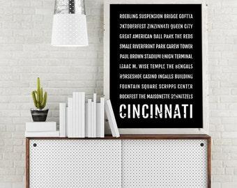 Cincinnati Print, Cincinnati Subway Sign Poster, Ohio Wall Art, Décor, Canvas, Gift, Bus Scroll, Typography, Minimal, Custom, Personalized