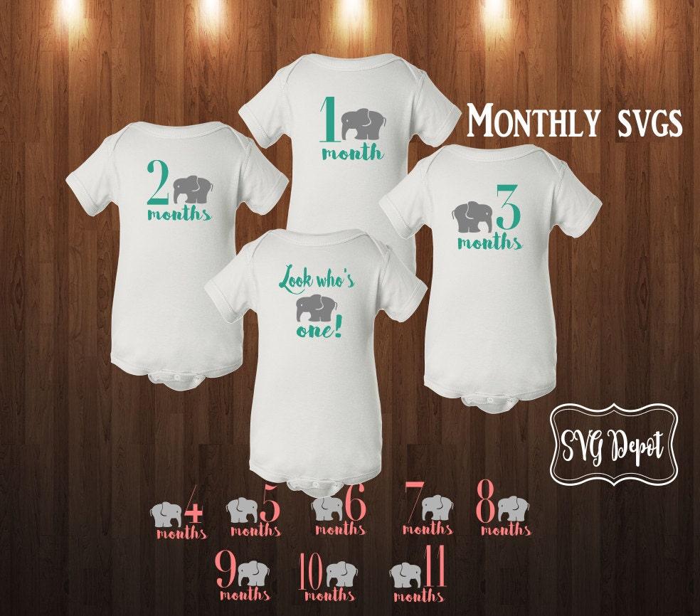 Monthly Onesie Svg File Set Preppy Elephant Svg Cute