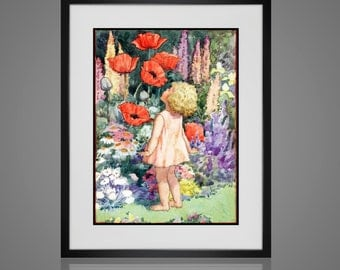 Framed Wall Art - VINTAGE NURSERY PRINT - Free Shipping - Art For Children - Available In 4 Sizes - Choose Black or Antique White Frames -