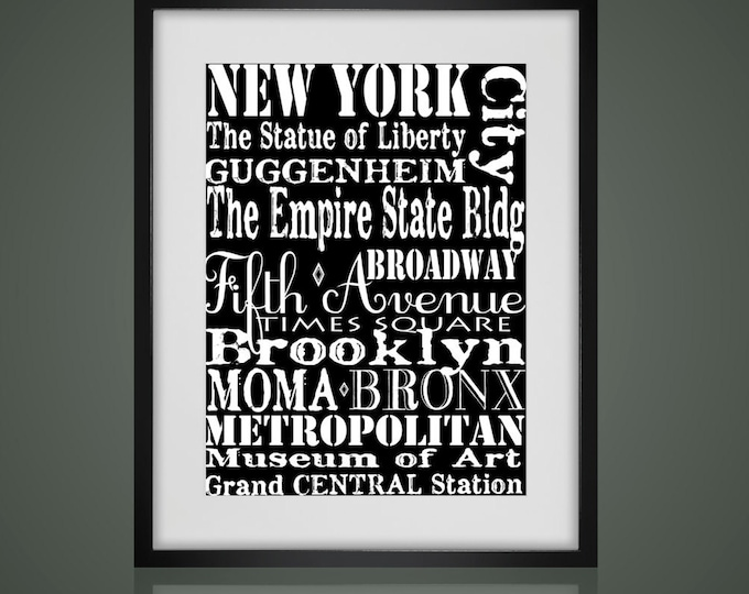 NEW YORK Subway Sign, Framed Wall Art,  Matted And Framed, Black or White Frame, Urban Art, Subway art,  Available In 3 Sizes