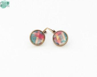 Geometric earrings, dangle earrings, glass earrings, antique bronze, pattern