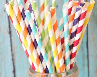 Rainbow straw mix, set of 25, rainbow party, weddings, st patricks day party, st patricks day straws, rainbow party straws