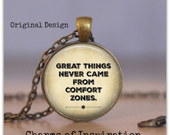Great Things Never cam from Comfort Zones quote necklace Motivational Exercise Fitness jewelry Comfort Zone Keychain Inspiration jewelry