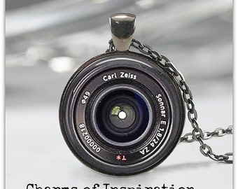 Zeiss Camera Lens Necklace Lens Image Pendant Camera Lens Keychain Keyfob Travel Gift for Photographer  30mm *NOT real camera lens*