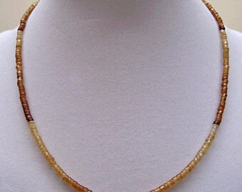Hessonite Garnet Heishi Bead Necklace in Two Lengths