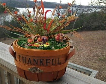 Handcrafted Thanksgiving Miniature Garden Centerpiece