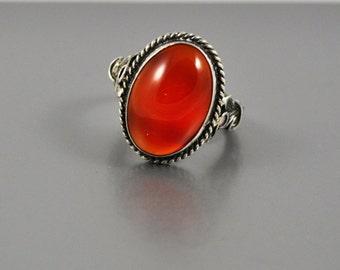 Sterling orange Agate ring size 5