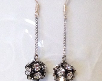 """Black and Silver """"MIYUKI"""" Rondelle balls Earrings, Silver chain Earrings, with Sterling silver ear wire."""