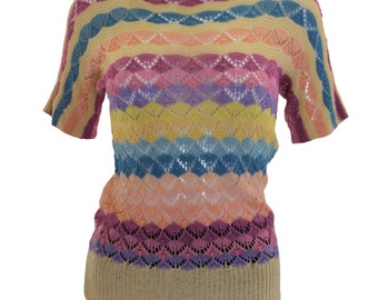 1920s Multicolour Stripe Crochet Jumper